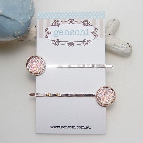 Light Pink AB Rose Gold Bobby Pin Set
