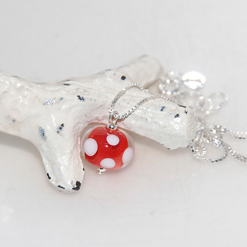 Red and White Polkadot Glass Petite Sterling Silver Necklace