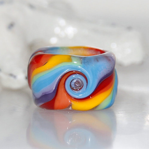 Big Rainbow Swirl Dread Bead