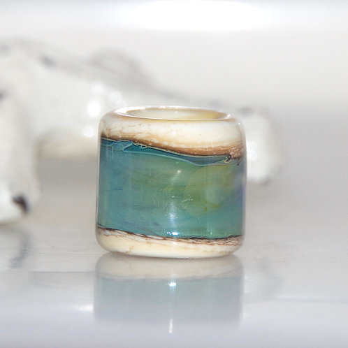 Blue Green Lustre Organic Glass Dread Bead
