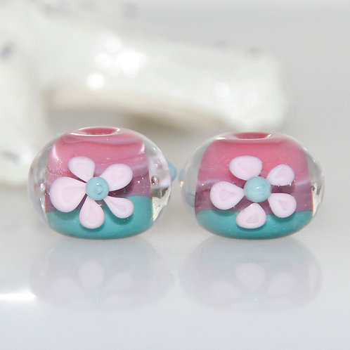 Pink Floral and Dusty Teal Lampwork Glass Bead Pair