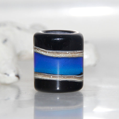 Black and Blue Dread Bead 9mm Hole