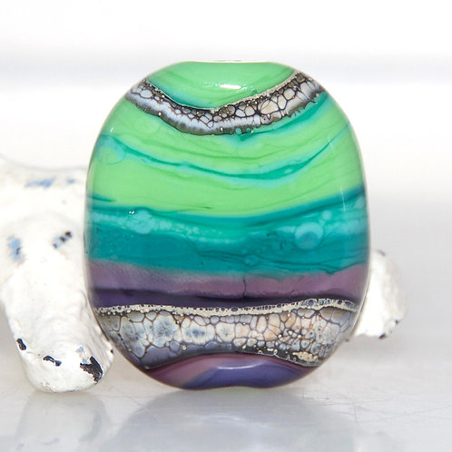 Purple to Lime Striped Organic Bead