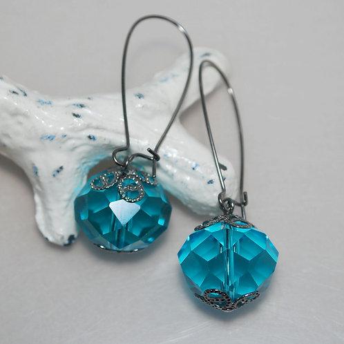 Big Faceted Aqua Crystal Earrings