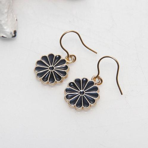 Little Black Enamel Daisy Earrings