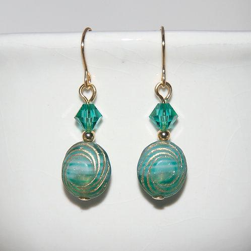 Czech Glass and Swarovski Light Emerald Green Earrings