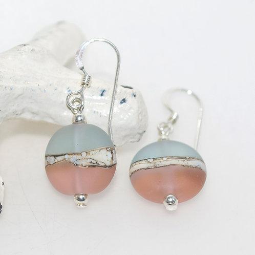 Satin Blue Peach Two Tone Earrings