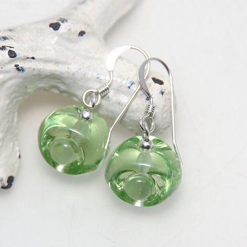 Transparent Green Lumpy Lampwork Glass Sterling Silver Earrings