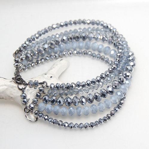 Multistrand Metallic Silver and Grey Crystal Glass Beaded Bracelet