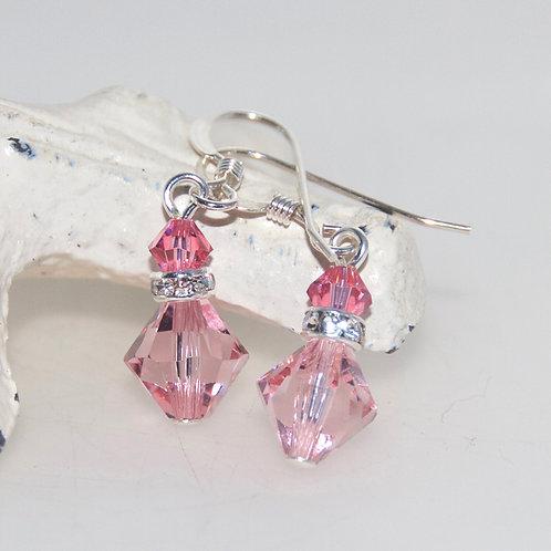 Light Rose Pink Swarovski Crystal Bling Drop Earrings