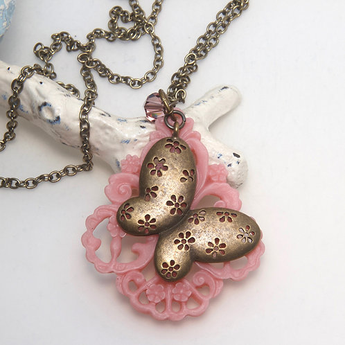 Pink Resin Antique Butterfly Necklace