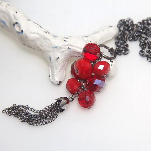 Red Gunmetal Tassel Necklace