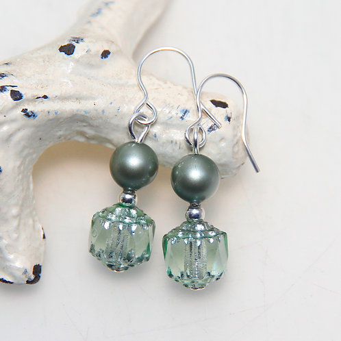 Czech Glass Cathedral Cut with Powder Green Pearls Earring Pair
