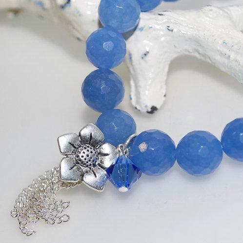 Cornflower Blue Flower Tassel Bracelet