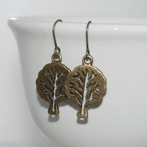 Antique Brass Tree Earrings