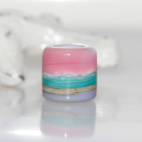 Pink Turquoise and Purple Glass Dread Bead 7mm Hole