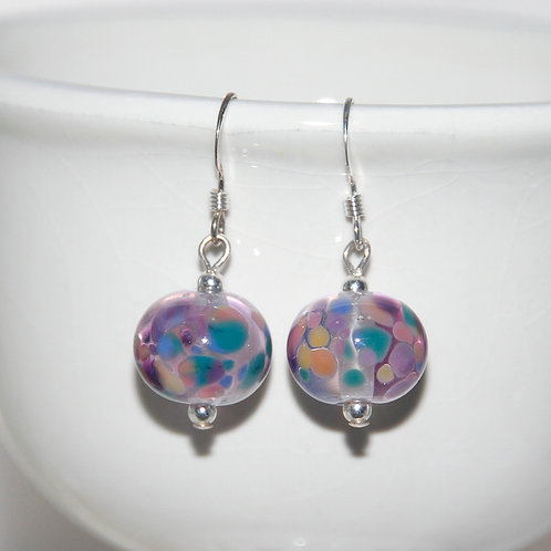 Colourful Purple Speckled Lampwork Glass Earrings