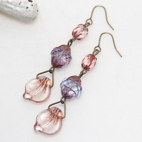 Rose Gold Leaf Drops with Purple and Pink Czech Glass Earrings
