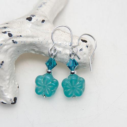 Teal Flower with Swarovski Crystal Earrings
