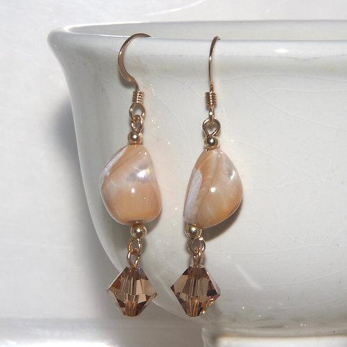 14kt Rolled Gold Caramel Shell Earrings