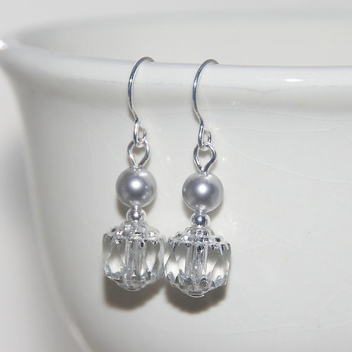 Czech Glass Cathedral Cut with Silver Pearls Earring Pair