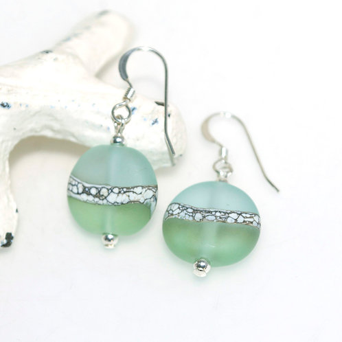 Satin Aqua Mint Two Tone Earrings