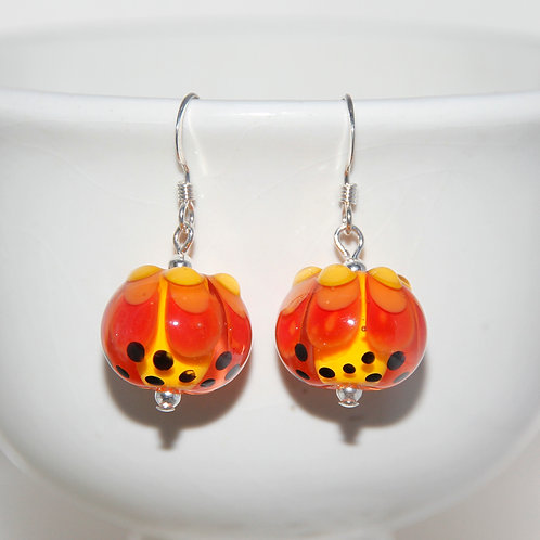 Fire Spotted Lampwork Glass Sterling Silver Earrings