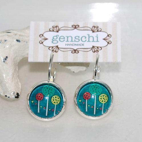 Lollipop Garden Dome Glass Earrings with Hinge Hooks