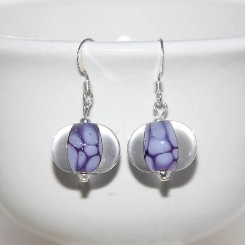 Deep Purple Cobblestone Lampwork Glass Sterling Silver Earrings