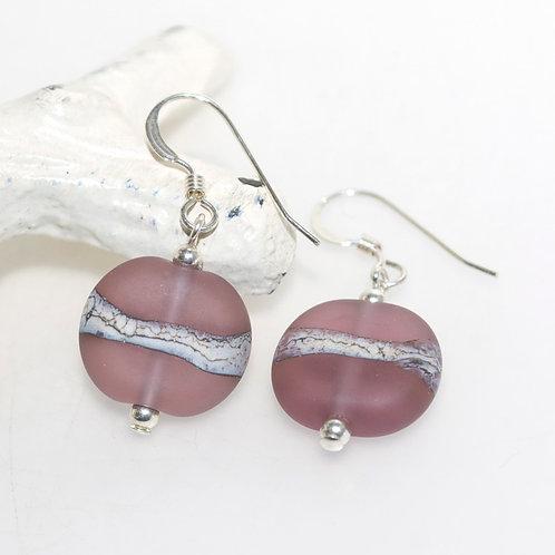 Satin Dusty Purple Organic Earrings