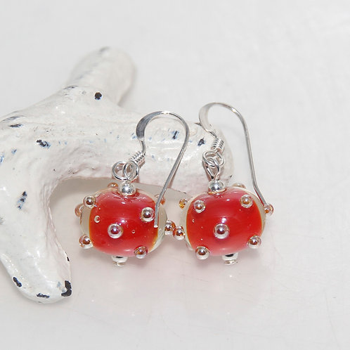 Short Red Quirky Sterling Silver Earrings