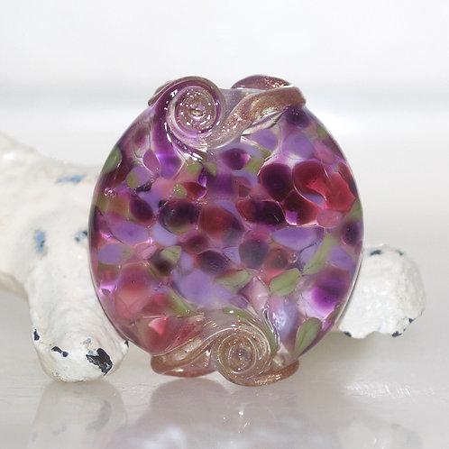 Royal Garden Mottled Swirl Lampwork Glass Bead
