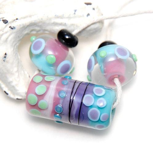 Pink Blue Purple Quirky Dots Lampwork Glass Barrel Bead Set