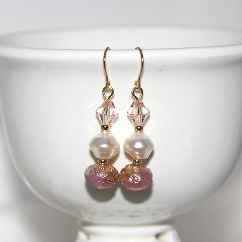 Pink Gold Dust and Pearl Earrings