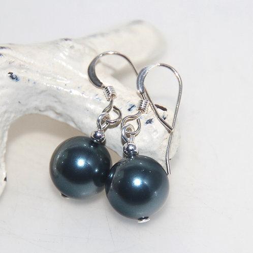 Tahitian Blue Swarovski Crystal Pearl Earrings