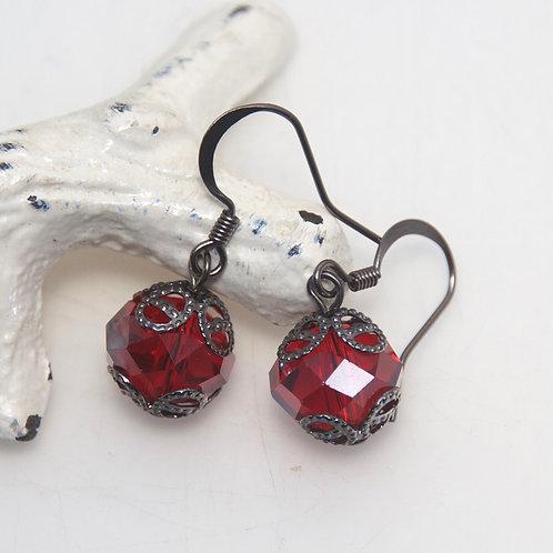 Capped Red Crystal Earrings