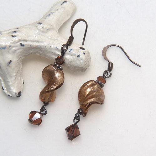 Brown Foil Twist Earrings