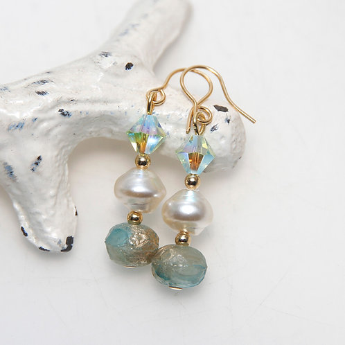 Sea Green Gold Dust and Pearl Earrings