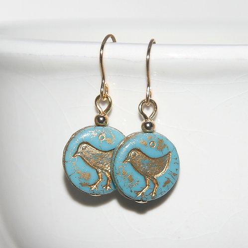Czech Glass Golden Birdie Turquoise Earrings