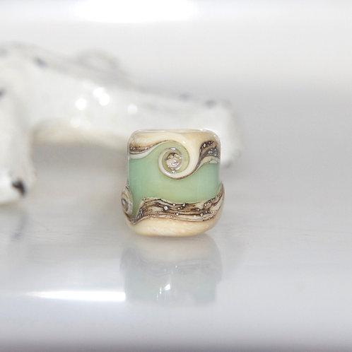 Sage Green Swirl Beach Glass Dreadbaby Bead