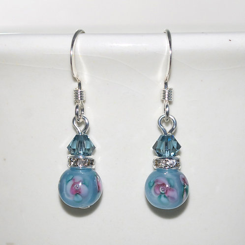 Dainty Denim Flower Earrings