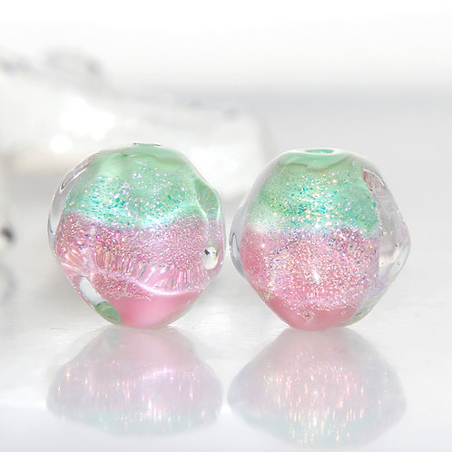Green and Pink Sherbet Nuggets Lampwork Glass Bead Pair