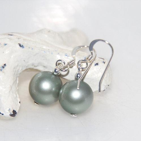Powder Green Swarovski Crystal Pearl Earrings