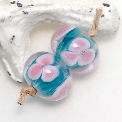 Teal Blue with Encased Pink Flowers Lampwork Glass Bead Pair