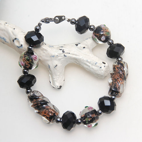 Black Glass with Copper Sparkles Bracelet