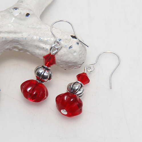 Small Red and Silver Drop Earrings