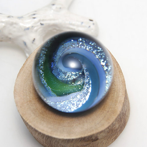 Blue and Green Sparkly Dichroic Vortex Marble