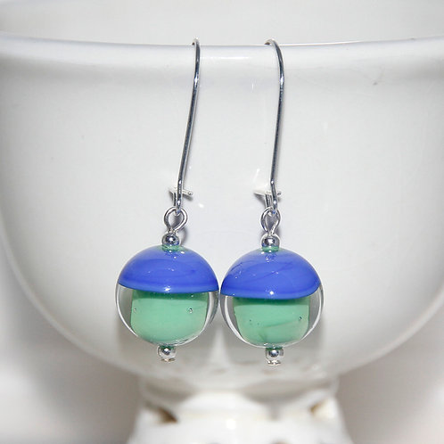 Two Tone Blue and Green Lampwork Glass Earrings