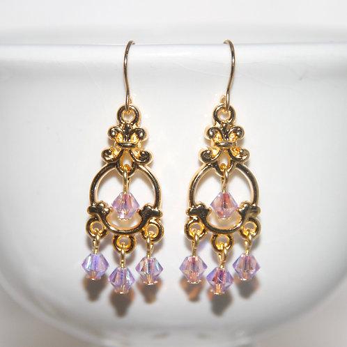 Violet AB Swarovski Crystal Chandelier Gold Earrings