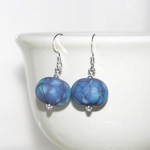 Satin Lavender Blue Speckle Earrings